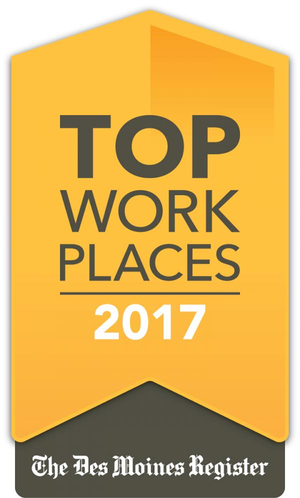 Baker Group awarded a 2017 Top Workplaces honor by The Des Moines Register.