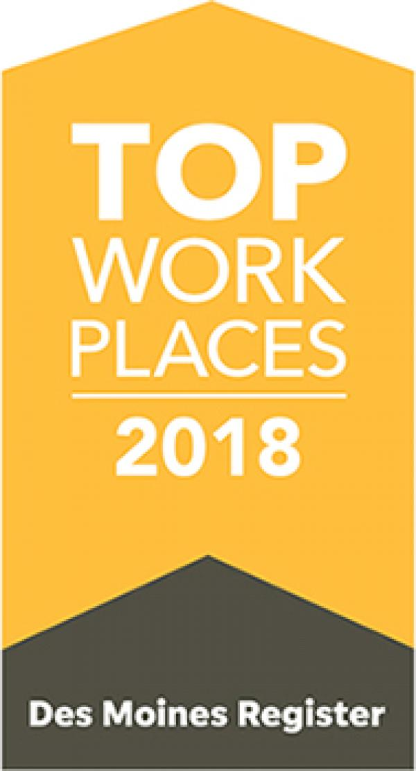 THE DES MOINES REGISTER NAMES BAKER GROUP A WINNER OF THE STATE OF IOWA 2018 TOP WORKPLACES AWARD